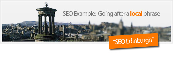 in this example illustration we're targeting phrases centered around seo edinburgh