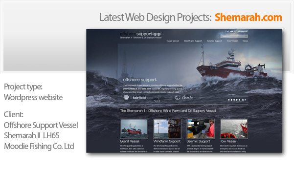 a website for offshore support vessel - the Shemarah II LH65