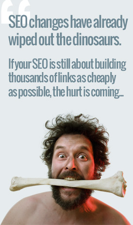 caveman showing problems with old seo methods post panda and penguin