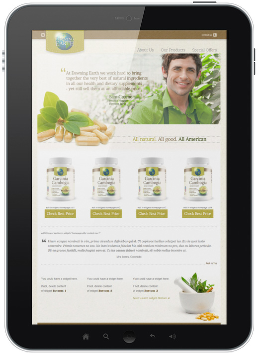 dawning earth dietary supplement website
